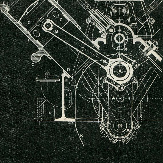 Mechanical Engineering Drawing Wolseley Engine by CarambasVintage