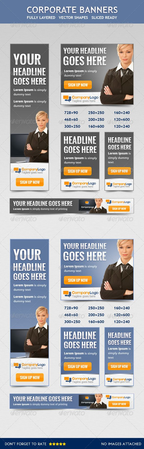 Corporate Banners II  #GraphicRiver         Professional Web Banners & ADS to grab the attention of your visitors or clients.   Fully layered and organized, all text and elements are easily editable.   This Zip includes:  PSD  Text   09 size's  Ad Sizes  728×90  468×60  160×600  160×240  120×600  120×240  300×250  250×250  200×200   Free font used:  Arial  Oswald (TT) (Free fonts) Criticized (Free fonts) Open Sans  No Images include  If you still have some questions please write me.  Thanks…
