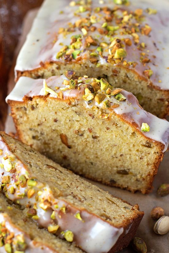Make the holidays a little happier with this rich, buttery pistachio pound cake! It's moist, tender and speckled with roasted pistachios!
