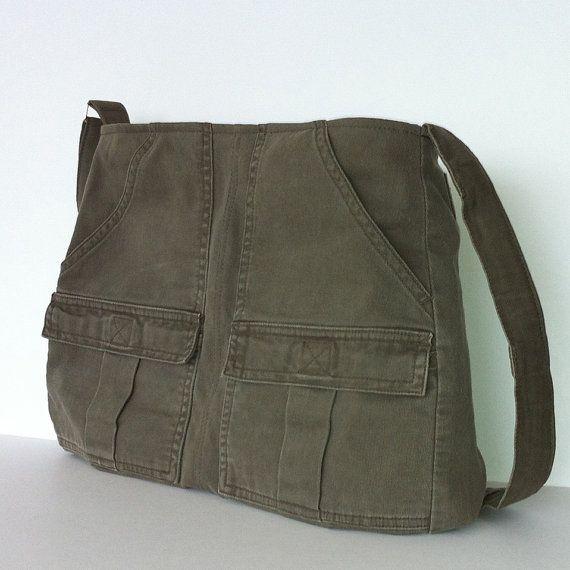 Cross body bag , Recycled cotton messenger bag , Vegan school bag , Casual day bag