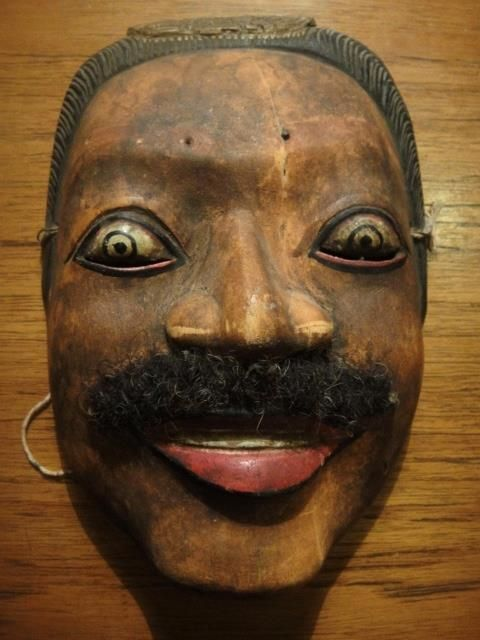 Antique TOPENG dance mask Java Indonesia RAMA Tribal carved wood 20cm rare