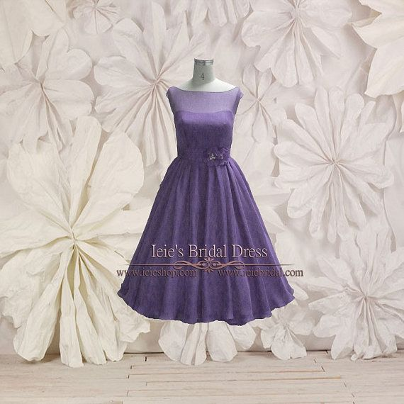 Modest Purple Retro 50s Tea Length Prom Dress   Formal Dress   Evening Dress   Modest Dress   Short Dress