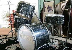 """Keith Moon's 1960's blue/black pearl finish Premier drum kit, used in many of the music scenes in the David Essex movie """"Stardust"""" (1974), starring Keith Moon as J.D. Clover, drummer with Essex's band the Stray Cats."""