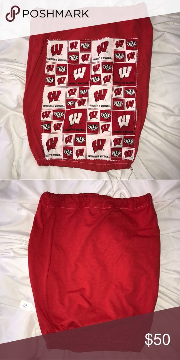 UNIVERSITY OF WISCONSIN MADISON ❤️ Tube top😍 University of Wisconsin tube top. Runs true to size. Elastic at top and bottom. DIY @madebymayor. Comment any questions❤️👐🏼 MADE BY MAYOR Tops