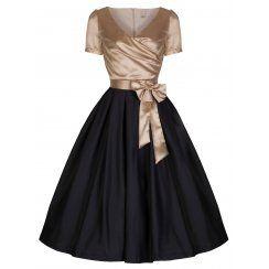 'Gina' Glamourous Golden & Black 40's 50's Vintage Tea Party Dress