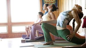 A vinyasa yoga class.