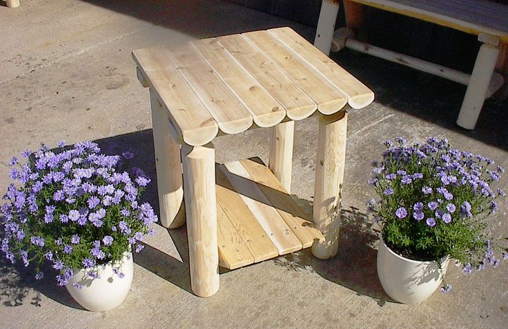 Rustic white cedar log two tiered outdoor coffee table for Rustic outdoor coffee table