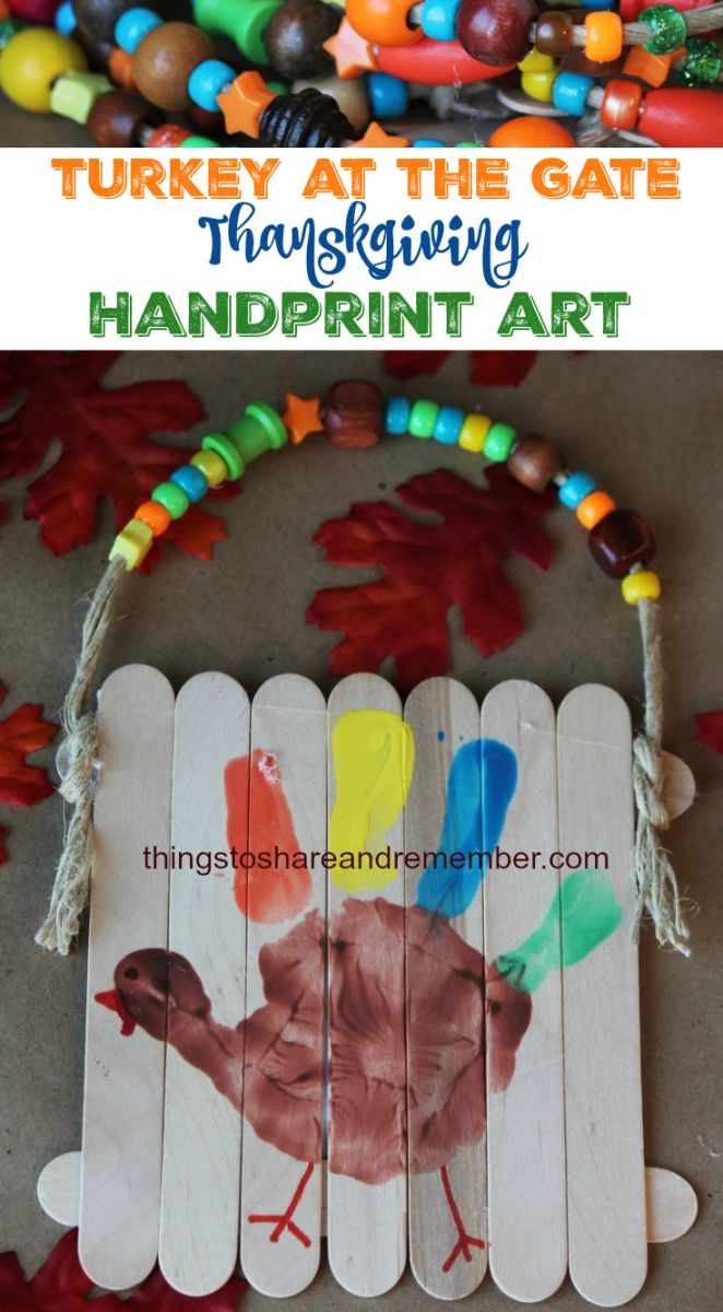 Turkey at the Gate Thanksgiving Handprint Art