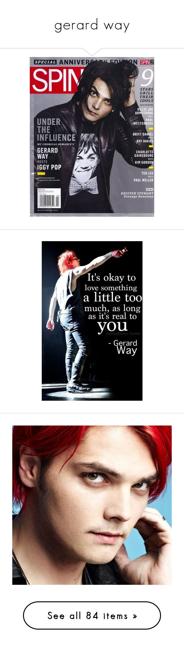 """gerard way"" by briana-is-hungry ❤ liked on Polyvore featuring mcr, my chemical romance, pictures, people, accessories, gerard way, words, quotes, phrase and saying"