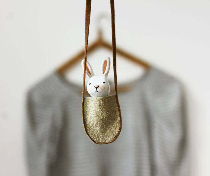 WANT!! Bunny necklace - Paper clay miniature white rabbit in a bag - Wearable art. £20.00, via Etsy.