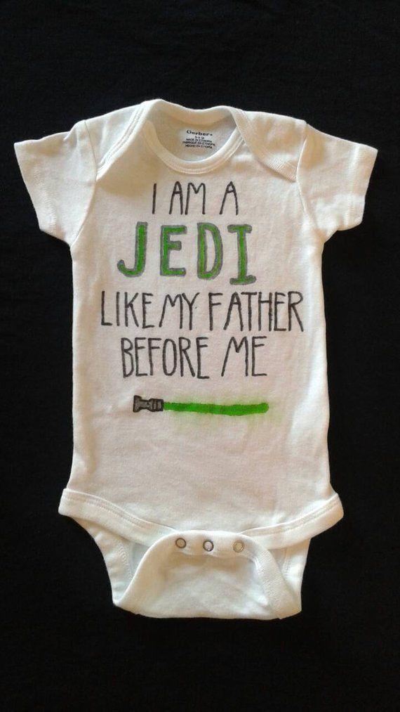 5914e9c9f57e7 Star Wars baby Jedi onesie geek baby outfit Luke Skywalker | Geek ...