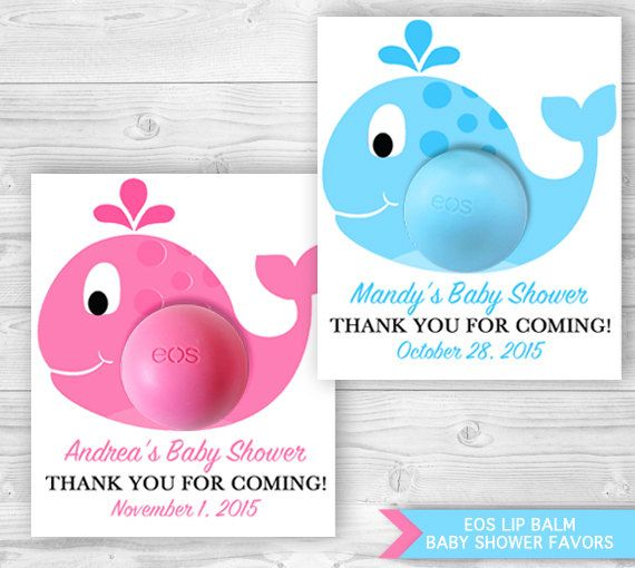 Whale Eos Baby Shower Printable Favor Card Template Personalized