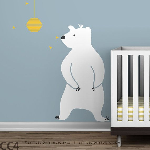 Baby Zoo Bear and Hive Wall Decal Boys room by LeoLittleLion