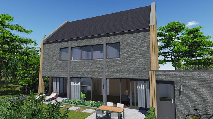 Moderne woning met zadeldak en onbehandeld hout door signatuur rijssen for Moderne huis foto