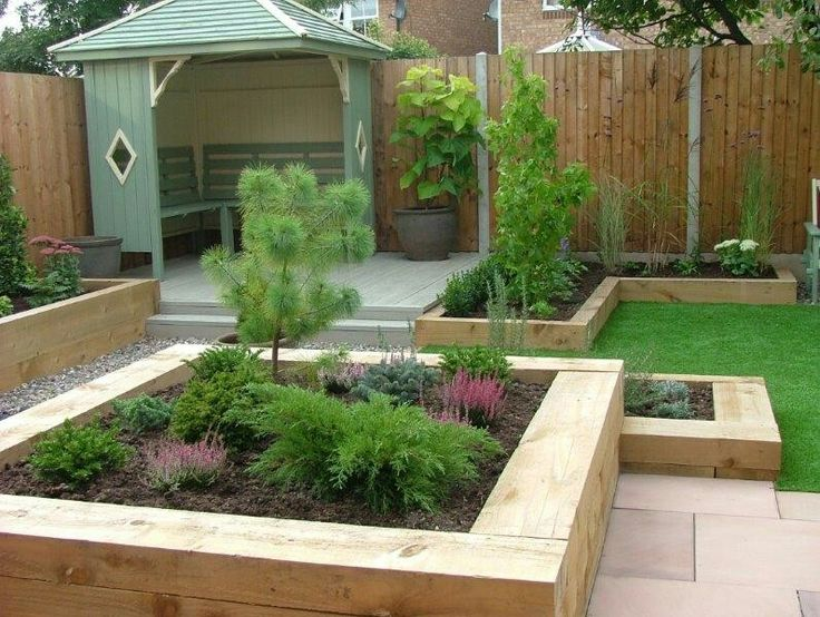 Willow Green Arbour Grey Decking Raised Borders. Modern GardensSmall  GardensContemporary ...