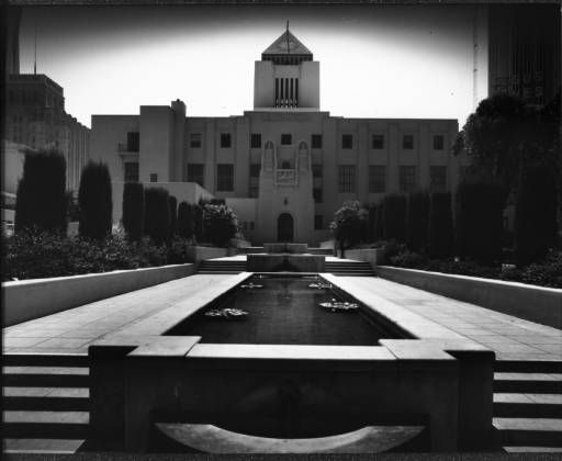 The Flower Street entrance of the Los Angeles Central Public Library, Los Angeles, after 1926 :: Library Exhibits Collection