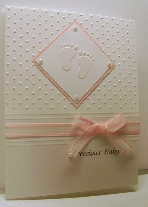 handmade baby cards ideas | cuttlebug card ideas | Cuttlebug baby feet and swiss dots embossing ...