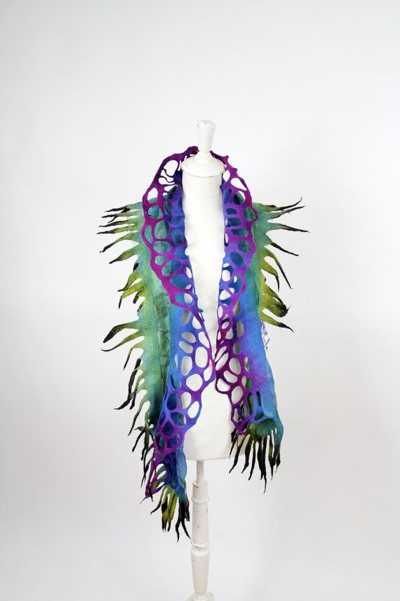 felted, scarf, felt scarf, ruffle, Wool, silk, nuno, accesories, wrap, woman, gift, girl, art, violet green blue