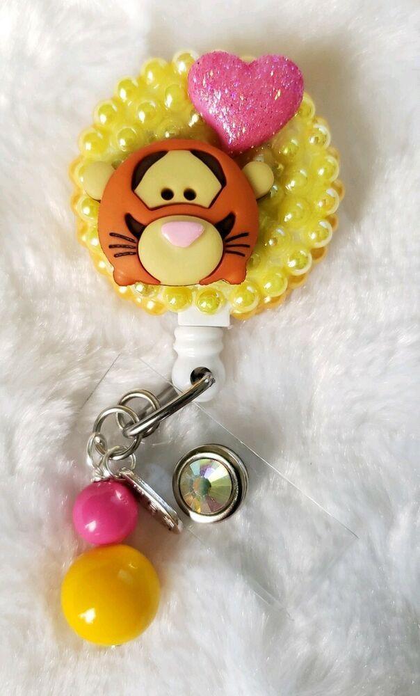 Retractable Badge Reel Name ID Pull Clip Holder Lanyard Eeyore Winnie the Pooh