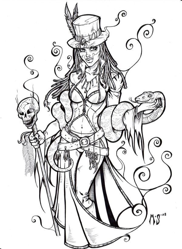 Snake Queen 《artsy Fartsy》 Tattoo Sketch Art Voodoo