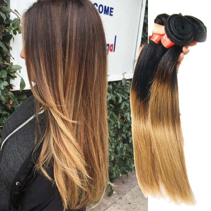 """Brazilian 14"""" 150g Real Human Hair Extension 1B/27 Straight Hair Weft New #Unbranded"""