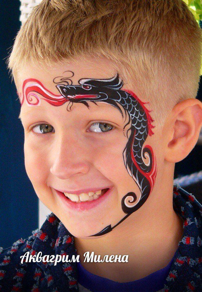 cool tribal dragon face paint #facepainttutorial