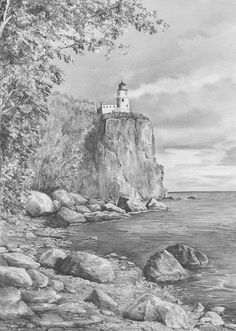 Landscape Drawings in coloured Pencil | pencil drawing of lighthouse, rocks, cliff, art lesson, free