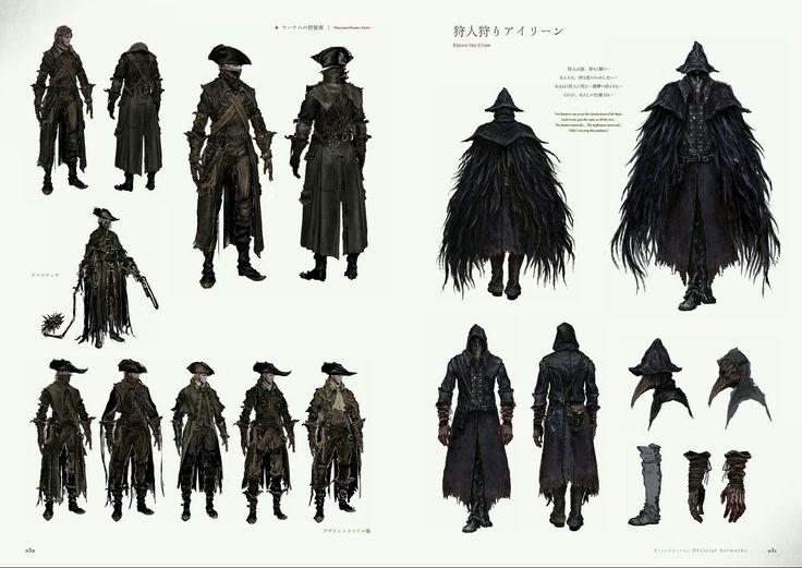 Bloodborne Concept Art - Yharnam Hunter Attire & Eileen the Crow Concept Art