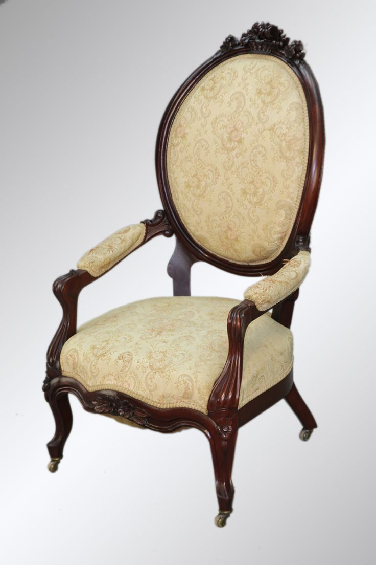 SOLD Antique Victorian Carved Basket Crest Arm Chair ...