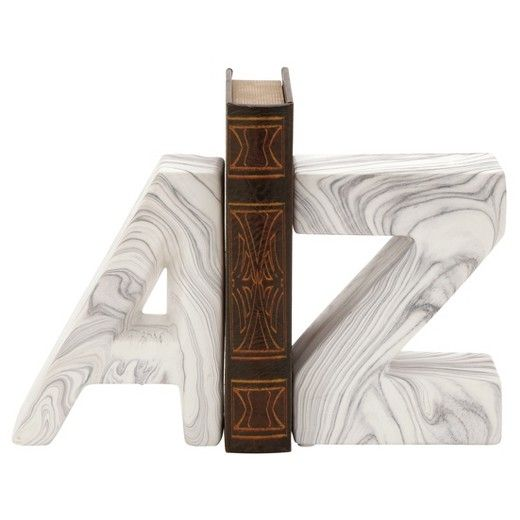 """Pair of 8"""" New Traditional ceramic marble-finish A and Z bookends, white dolomite with gray marbling, cut-out capital letters"""