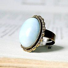 Prstene - Larimar & Vintage Lace Ring / Prsteň s prírodným larimarom - 8222154_