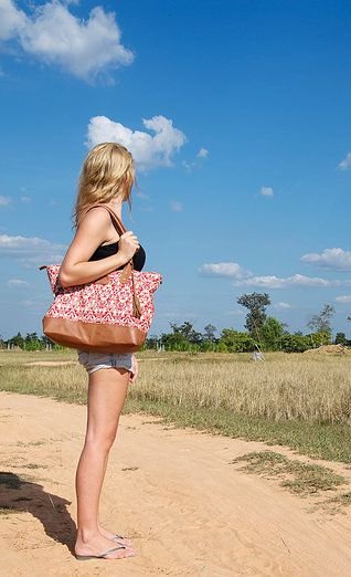 In the deep nature of Cambodia with Sorayane - Leather and Indonesian Batik Tote Bag