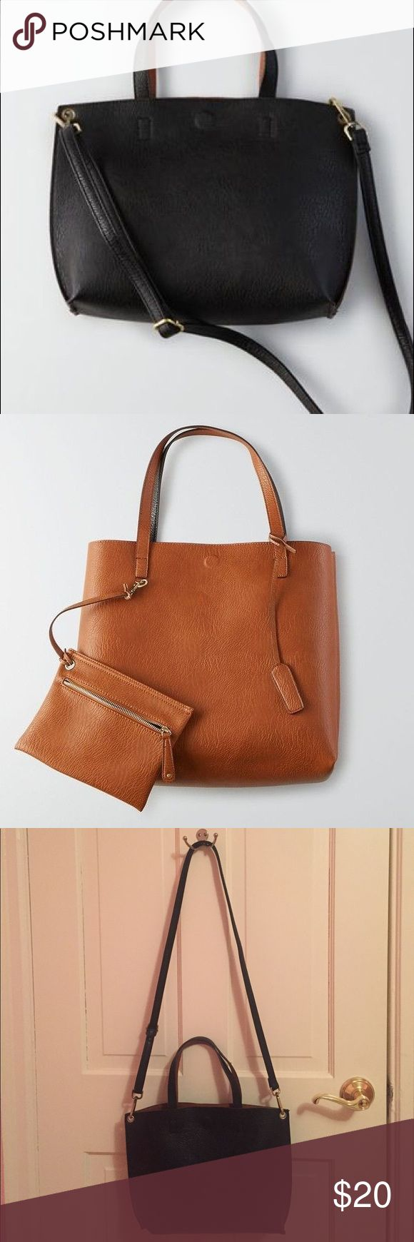 Small reversible cross body tote. Just bought and never used. Tote is reversible in black and brown as shown, comes with a small pouch for cash, cards, or a cell phone. Crossbody strap is adjustable and it has a magnetic closure. American Eagle Outfitters Bags Crossbody Bags