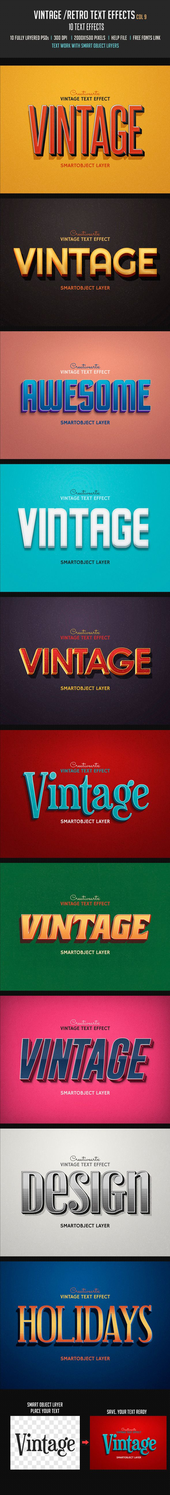 Vintage Retro Text Effects Col 9 #photoshop Download here: http://graphicriver.net/item/vintage-retro-text-effects-col-9/9814778?ref=ksioks