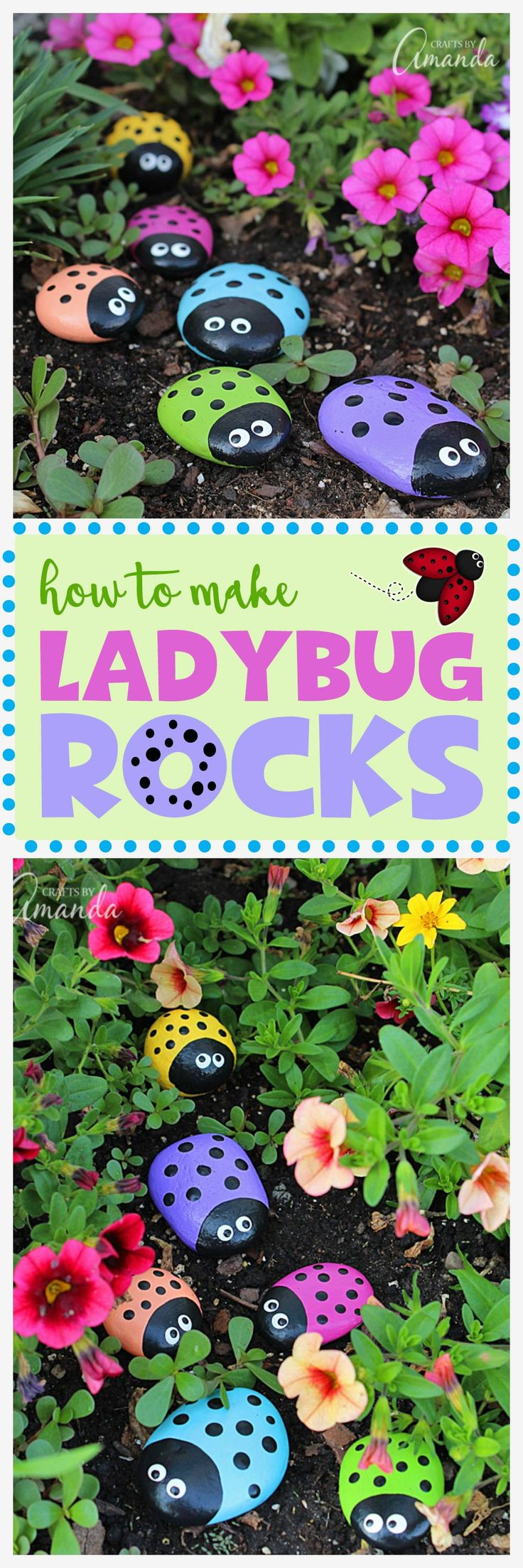 Learn to make these adorable ladybug painted rocks. use special outdoor paint for this adorable garden craft so you can keep garden ladybugs all summer! #kidscrafts