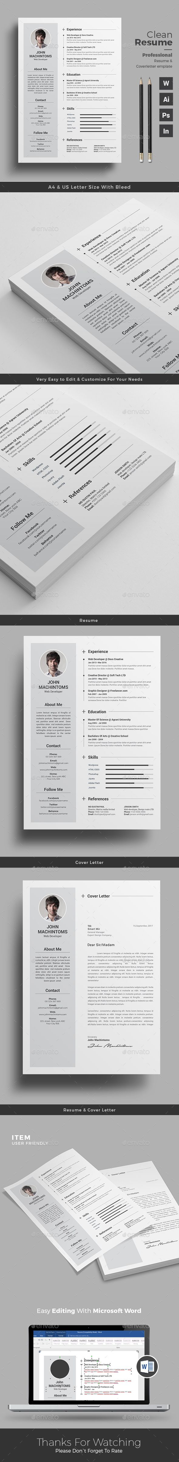 Clean Professional Resume Word Template | MS Word + PSD + AI + INDD | A4 & US Letter Size | Free Cover Letter | Download https://graphicriver.net/item/resume/17764831?ref=themedevisers