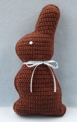 """Chocolate bunny pattern crocheted using Vanna's Choice yarn.  Nice """"healthy"""" alternative for Easter gifts!"""
