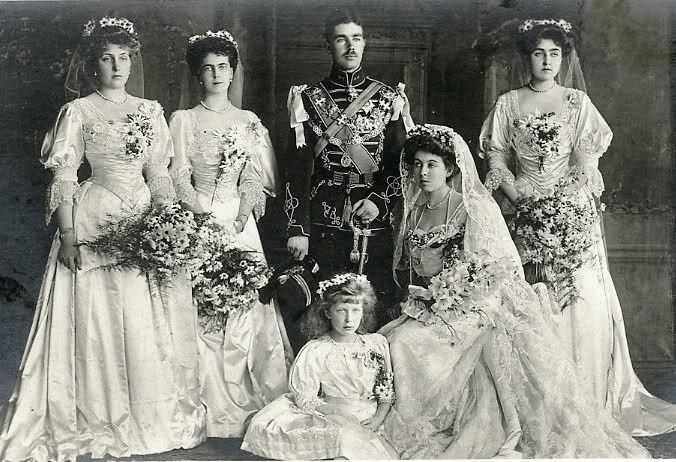 Wedding of Prince Gustav Adolf of Sweden and Princess Margaret of Connaught. Margaret was a granddaughter of Queen Victoria and Gustav became King of Sweden. The bridesmaids, also granddaughters and great granddaughters of Queen Victoria, are Ena of Batternburg (Queen of Spain), Beatrice of Edinburgh (Duchess of Galliera), Mary of Wales (Princess Royal and Countess of Harewood) and  Patricia of Connaught (Lady Ramsay).