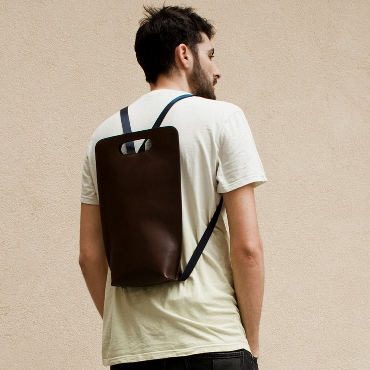 #TrendAlert: #backpack. This one from SimpleBe is made in leather with blue details.