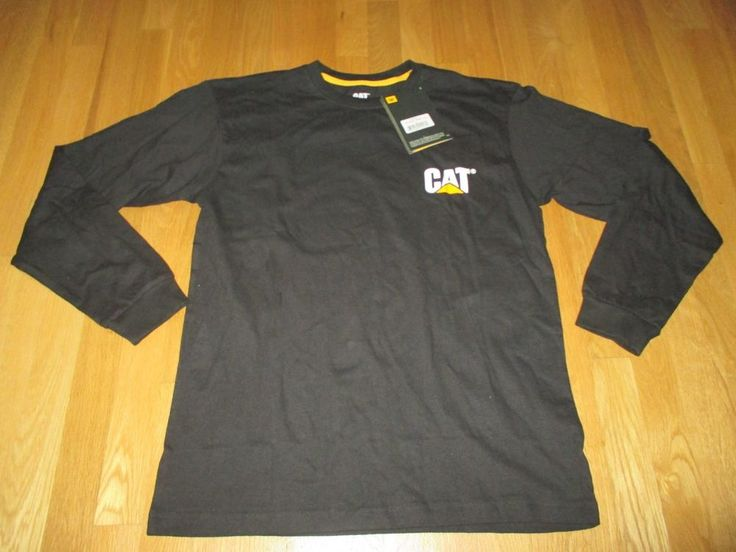NEW MENS CAT WORKWEAR BLACK LONG-SLEEVE CREW NECK T-SHIRT SIZE: MEDIUM, NWT #CAT #GraphicTee
