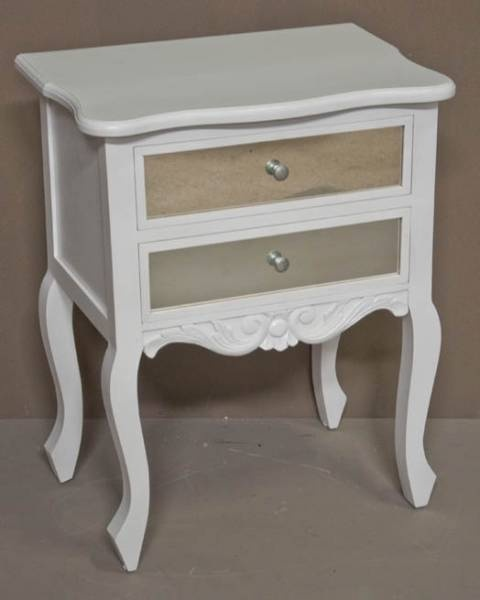 Bedside Table 2 Drawer with Mirror 75 x 60 x 40 White Wash F1950 R