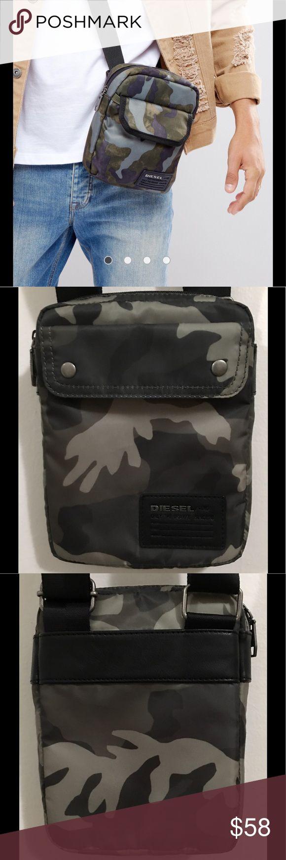 Diesel Cross Body Bag Very Cool Diesel Flight Bag, Durable Fabric Outer, Adjustable Shoulder Strap, Zip Top Closure, Black/Grey Camo, 99%Polyster, Almost New, 2Times used Diesel Bags Messenger Bags