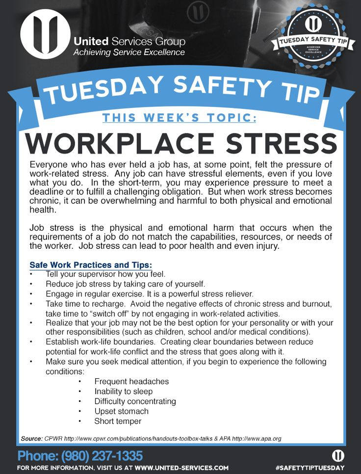 This week's Tuesday Safety Tip is about Workplace Stress