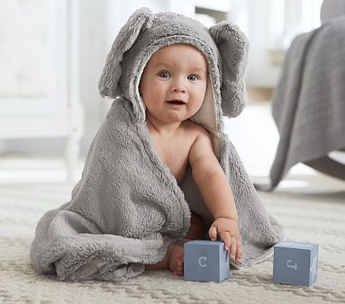 Pottery Barn Kids, Nursery Fur Critter Bath Wrap in Elephant, also available in Bunny Lamb or Bear, $35