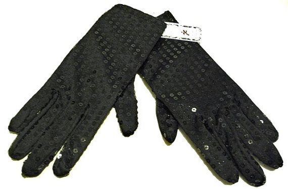 Sequin Hand Gloves BLACK One Pair Costume by SequinWorld on Etsy