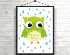 Tablou pentru copii - bufnita verde