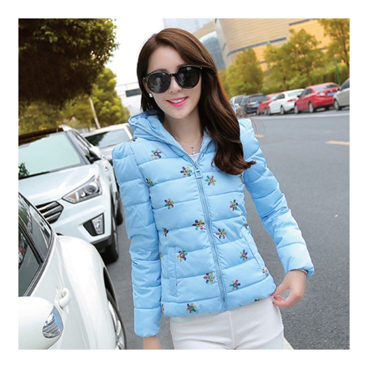 Winter Slim Embroidered Chic Woman Down Coat water blue