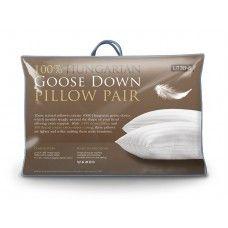 Pair Luxury 100% Hungarian Goose Down Pillows 300TC Cotton