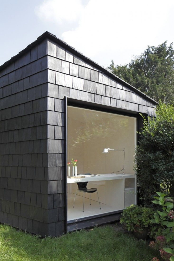 black shingled facade of garden office by serge shoemaker architects via gardenista;