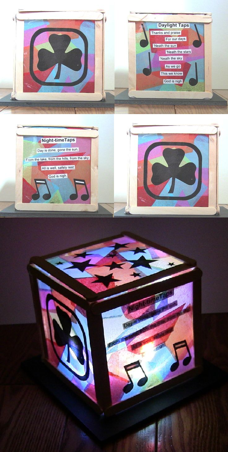Guides light box. Made from tissue paper, contact paper, cut outs, Popsicle sticks, finger lasers and glue. Made for the Advancement ceremony for the Northshore District Guides. Girl Guides of Canada, Quebec.